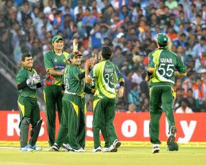 Pakistani cricketers celebrating after the dismissal of a Indian player during the India-Pakistan 2nd Twenty20 International cricket match at Sardar Patel Stadium, Motera, Ahmedabad. (Photo: IANS)