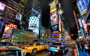 Times Square on a rainy night in New York City
