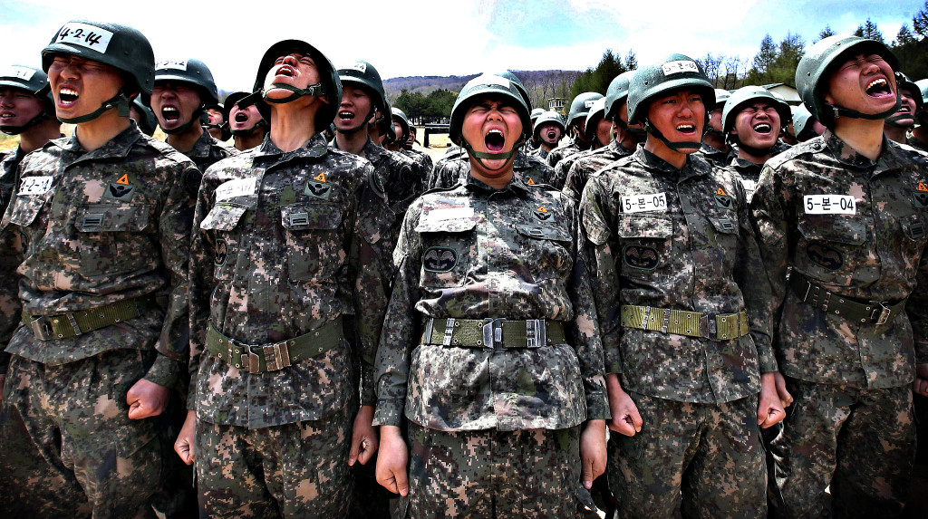 Members of the South Korean special forces take part in a milita