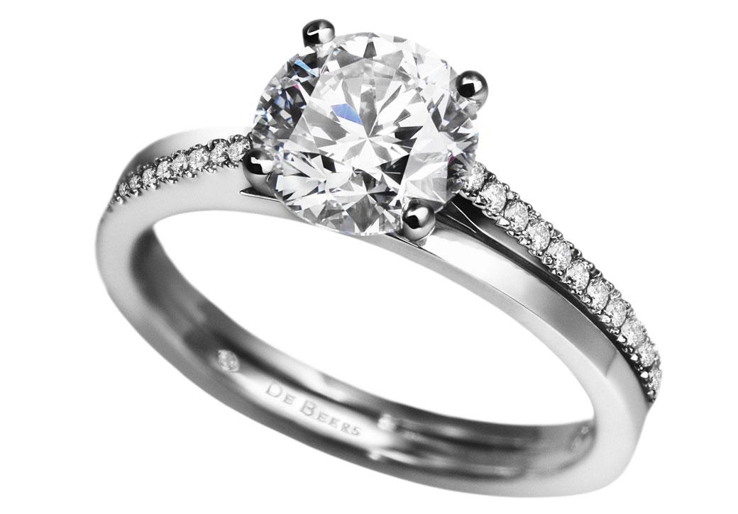 De Beers Round Cut Brilliant Diamond Platinum Engagement Ring